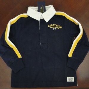 NWT Ralph Lauren LS Navy Rugby Shirt 2t 3t 4t NEW